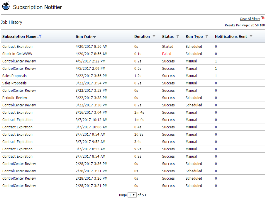 Job Run History Report Screenshot